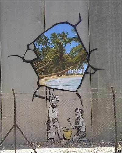 Banksy streetart op Palestijnse muur